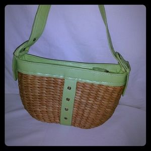 NWOT straw purse with green faux leather trim